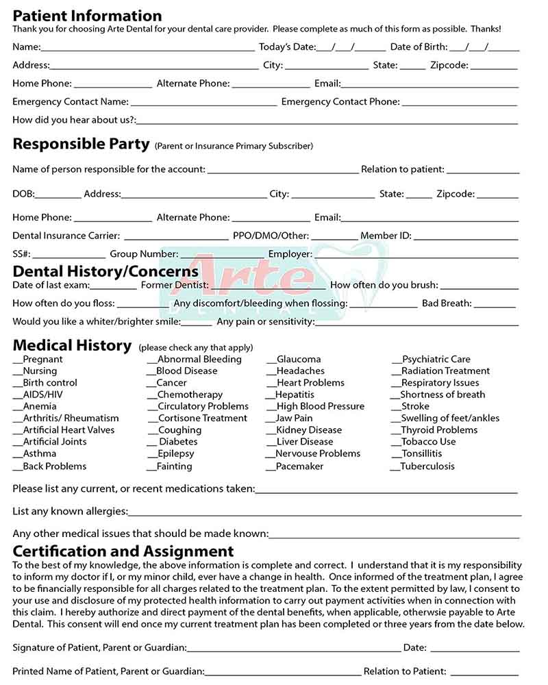 Arte Dental - New Patient Form